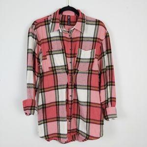 Zara Pink Plaid Pleated Flannel Shacket sz Small